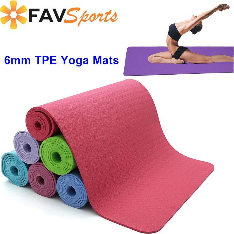 @1  Двухсторонний цветной 6 мм толстый нескользящий коврик для йоги пилатес упражнения йога спортивный к ①