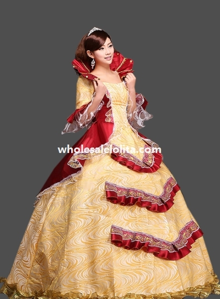 268431389c7 Historical Royal Court Gold Princess Theatre Clothing Theme Party Dress