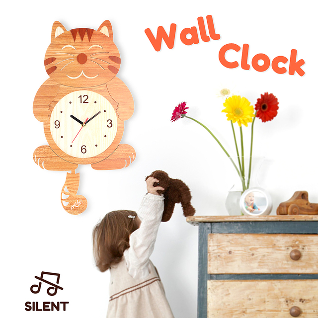 Wooden Wall Clock Cat Pattern Swinging Tail Pendulum Cartoon Clocks Battery Operated Room Home Decor Wood Hanging In From