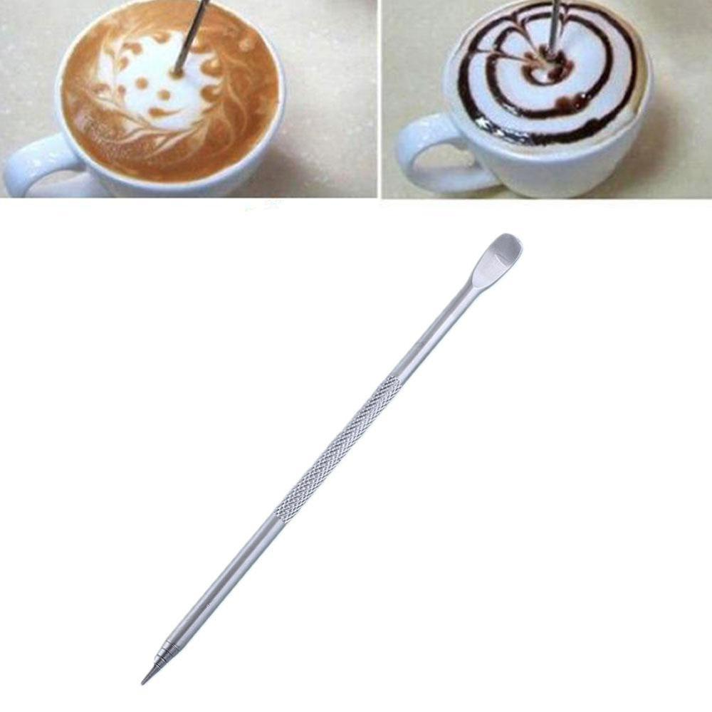 1pcs New Useful Stainless Steel Barista Cappuccino Latte Espresso Coffee Decorating Pen Art Household Kitchen Cafe