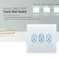 AoYan Touch Switch 1 Gang 2 Gang 3 Gang 1 Way Luxury Glass Panel Crystal Glass