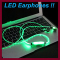 LED Light Flashing Sport Glow Earphones  3.5mm Glowing Cable Stereo Earphone with Microphone Luminous Earbud for Phone Android