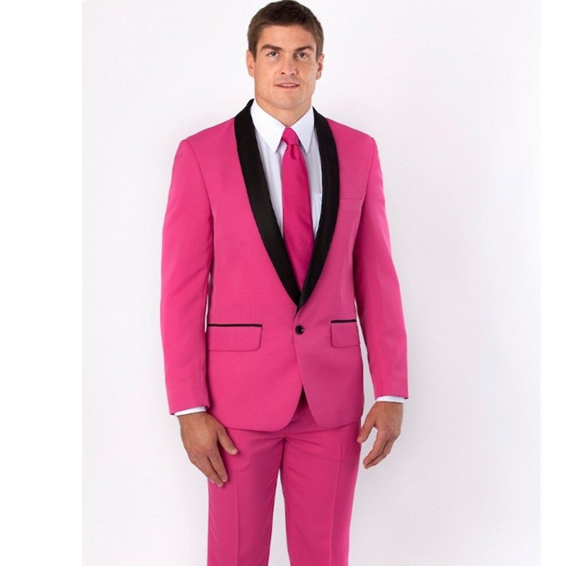 New Men's suits Groom Tuxedos Pink Groomsmen Best Man Wedding ...