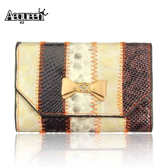 AEQUEEN Crocodile Women Wallet Genuine Leather Wallets Bowknot Coin Purses Patchwork Striped Short Purse Carteria Random Color