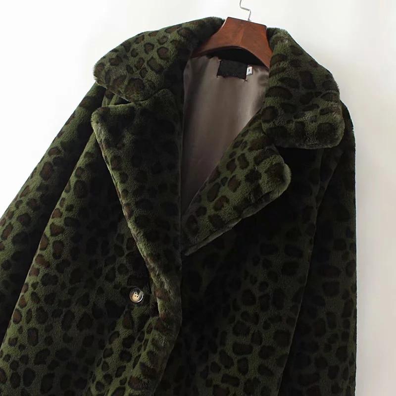 겨울 모피 자켓 따뜻한 표범 인쇄 가짜 모피 코트 streetwear 긴 소매 두꺼운 테디 코트 outwear abrigo mujer 레이디 롱 코트-에서인조 퍼부터 여성 의류 의  그룹 3
