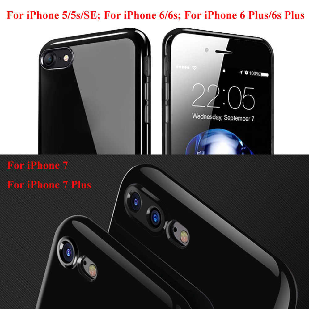 97a44ff3fb ... For iPhone 7 Case Jet Black Shockproof Soft Glossy TPU Silicone Gel  Phone Cases Back Cover