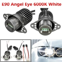 Best Promotion 1 Pair 12V White 6000K 80W LED Angel Eye Halo Ring Light Lamp Bulb