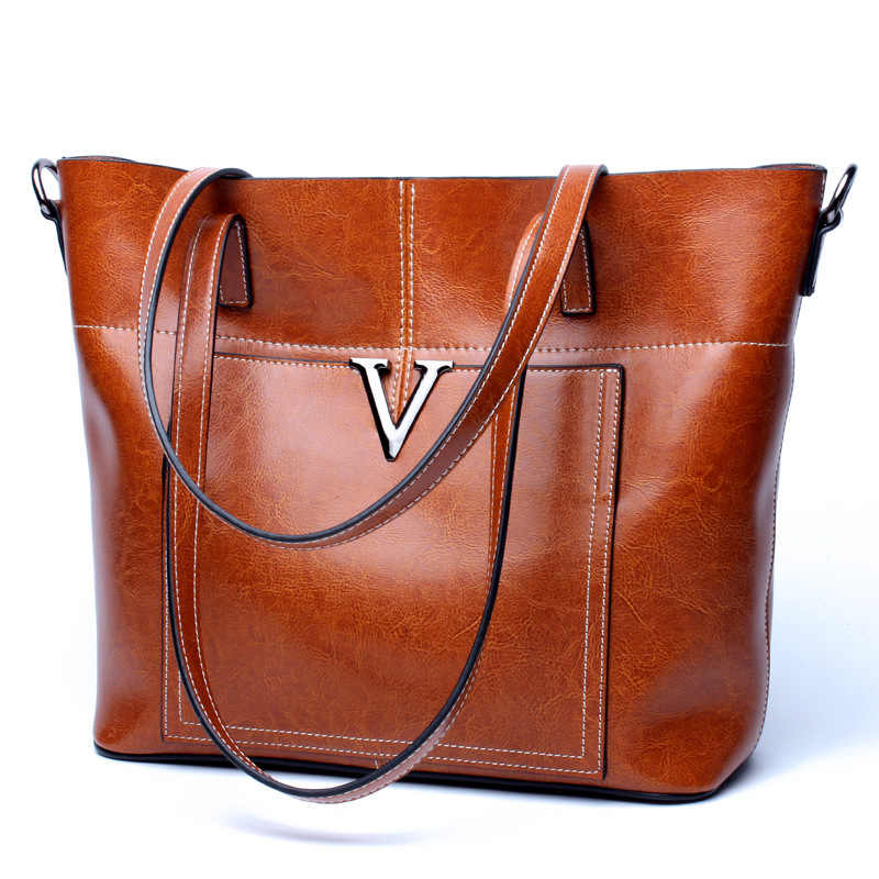 Women's new leather fashion large-capacity handbag Europe and the United States leather vertical model tote