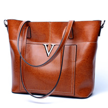 Womens new leather fashion large-capacity handbag Europe and the United States vertical model tote