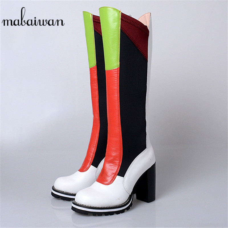 Mabaiwan Fashion Style New Knee High Women Shoes Long Genuine Leather Autumn Winter Boots High Heel Shoes Woman Thigh High Pumps nayiduyun new fashion thigh high boots women genuine leather round toe knee high boots high heel party pumps casual shoes