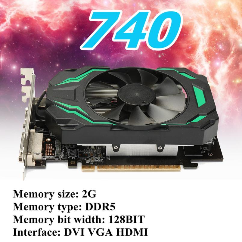 Video Cards GT740 2GB GDDR5 128bit VGA DVI HDMI Graphics Card w/ Fan For NVIDIA GeForce Video Card 18Apr20 Drop Ship F computador cooling fan replacement for msi twin frozr ii r7770 hd 7770 n460 n560 gtx graphics video card fans pld08010s12hh