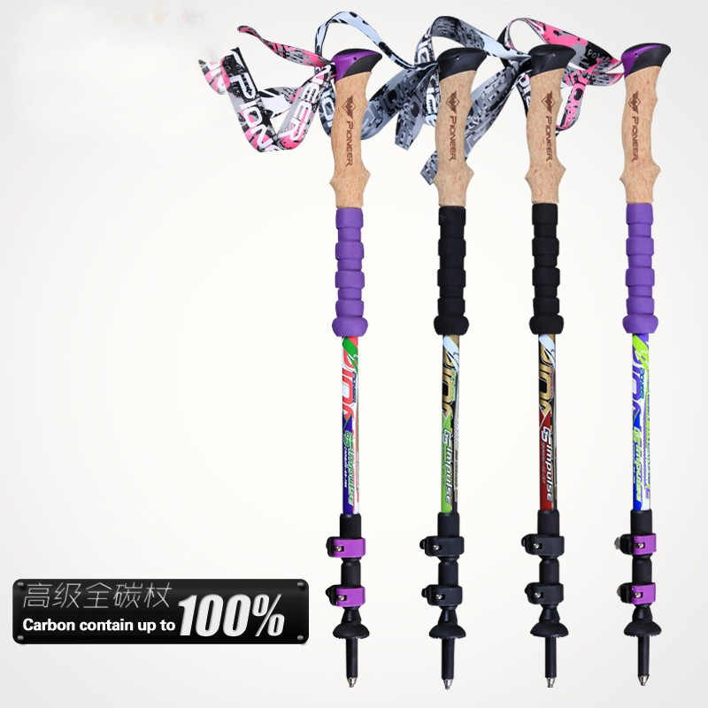 Professional Lock Telescoping Hiking <font><b>Stick</b></font> Walking Cane for Men Mountain-Climbing Bastones Trekking Carbon