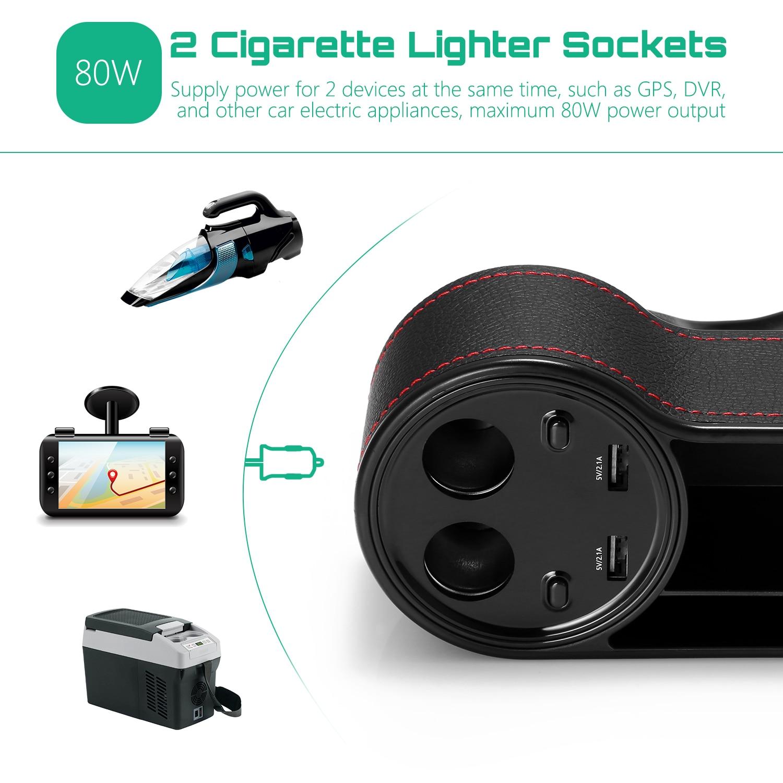 Image 5 - ZEEPIN C15 многофункциональная автомобильная коробка для хранения зазоров сиденья PU кожаный чехол карманное автомобильное сиденье боковой щелевой дисплей напряжения 2 прикуривателя-in Все для уборки from Автомобили и мотоциклы