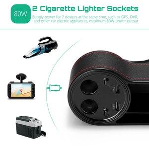 Image 4 - ZEEPIN C15 רב להשתמש רכב סיאט אחסון קופסא עור מפוצל מקרה כיס ימין מושב צד סדק מתח תצוגה 2 סיגריות מצית