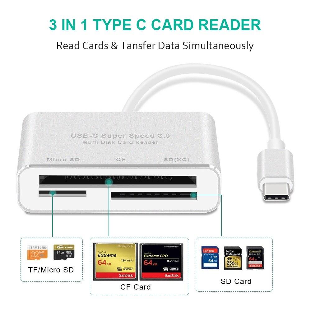 3 en 1 USB C lector de tarjetas tipo C a SD TF CF lectores de tarjetas para Macbook teléfono y USB-C dispositivos Super velocidad USB-C 3,0 OTG