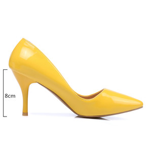 Image 2 - Fashion High Heels Shoes Woman Pointed Toe Classic Shallow Womens pumps White Red Pink Heels Wedding Office Shoes Large Size 48