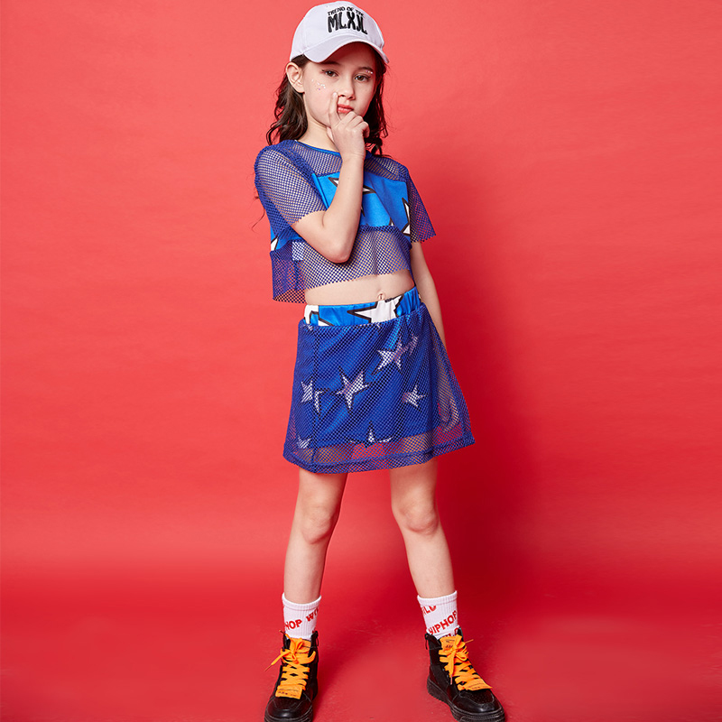 Girls Jazz Dance Costumes Children'S Day Hip Hop Clothing Blue Short Sleeve And Shorts Cheerleader Costume Kids Outfit DQS1497