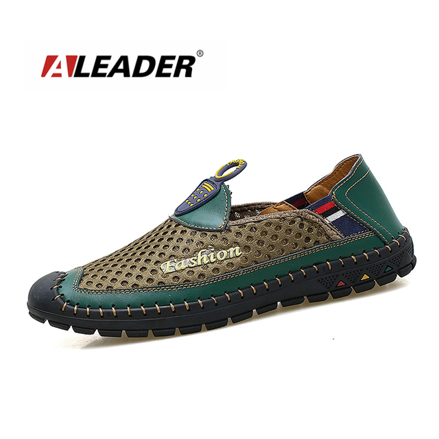Aleader Breathable Handmade Sewing Shoes Men Breathable Slip On Mesh Shoes Casual Driving Shoes Loafers For Men masculino sapato