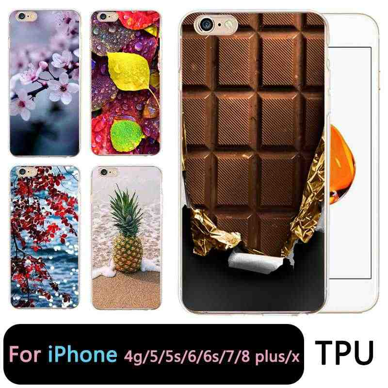 QMSWEI TPU funda de teléfono transparente para iPhone 6G 6 s 7 8 plus x suave Flora Chocolate piña hoja funda bonita para iPhone 4 5se 6 Plus 7 P