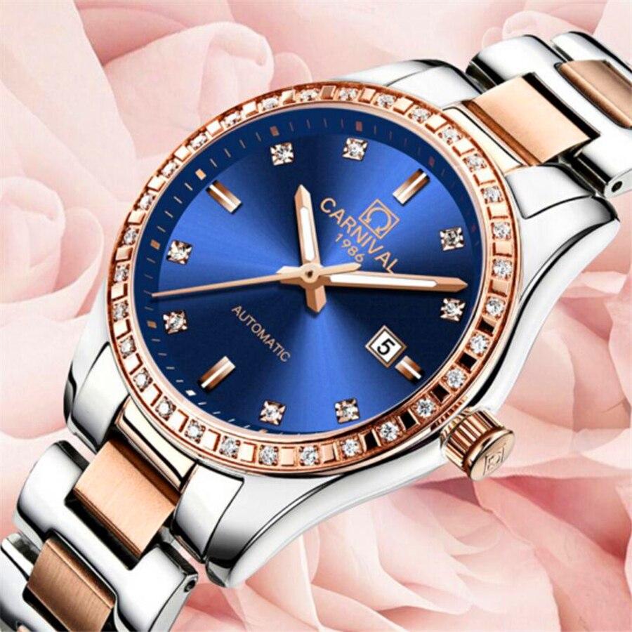 카니발 다이아몬드 숙녀 손목 시계 여성 패션 시계 2017 브랜드 캐주얼 여성 시계 방수 여성 기계식 시계-에서여성용 시계부터 시계 의  그룹 1