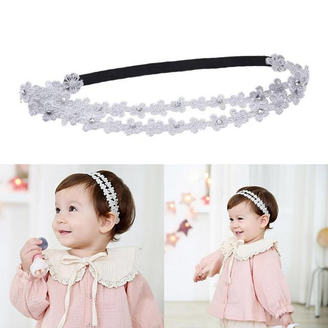 1pc Silver White Baby Headband Children Baby Toddler Girls Embroidery  Flowers Elastic Hair Band Headwear Clothing Accessories 779806cad7a