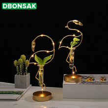 Golden Flamingo Vase Wrought Iron Transparent Glass Test Tube Hydroponics Lamp Beads Flower Pot Container Home Decoration