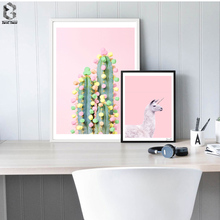Pink Lovely Unicorn Canvas Posters and Prints Wall art Cactus Painting Picture for Living Room Home Decor