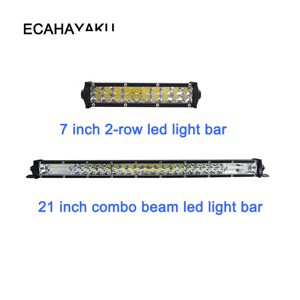 "ECAHAYAKU 7"" 21"" 60w 180W slim double row LED work light bar for Offroad Car 4WD Truck Tractor Boat Trailer 4x4 SUV ATV 12V 24V"