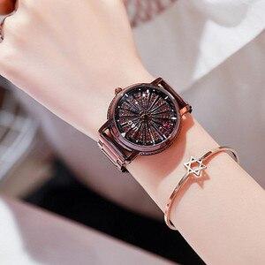 Image 5 - Женские кварцевые часы, вращающиеся по супер технологии, со стразами, из нержавеющей стали