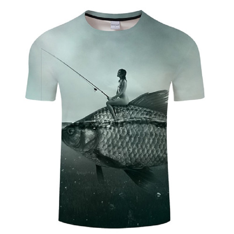 Summer leisure men 3d printed Tshirt, fish pattern printed   t     shirt   for men and women Hip hop Asian size s-6xl
