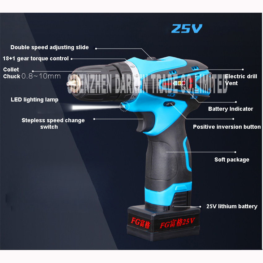 25V Rechargeable Lithium Battery Cordless drill hand electric drill bit Socket wrench household electric screwdriver power 12v 16 8v 25v hand manual cordless