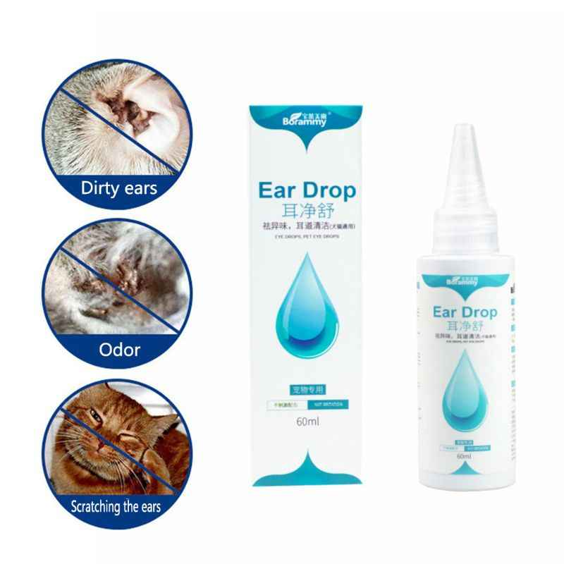 60 ml Pets Ears Drops Stain Odor Removers Effective Against Mites Preventing Ear Disease Pet Dog Cat Clean Ear Wash Supplies C42