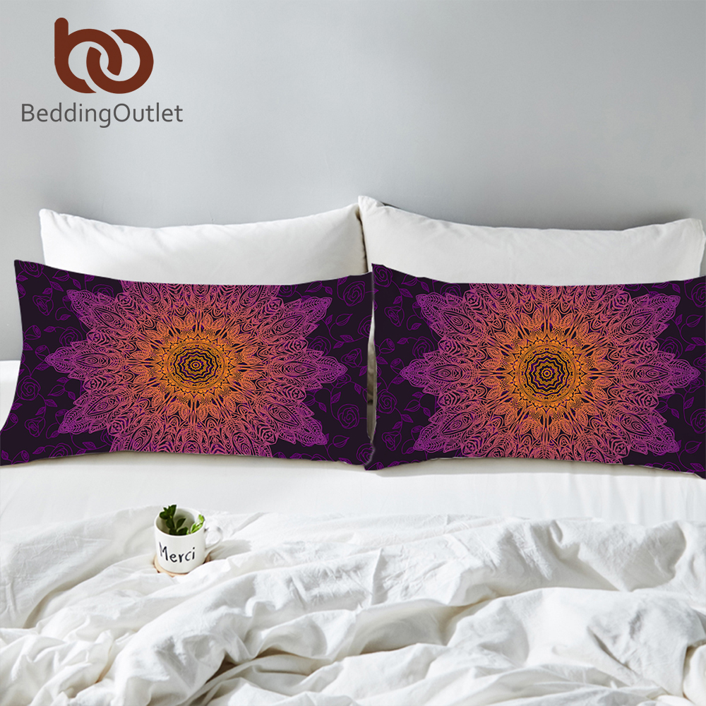 BeddingOutlet Floral Boho <font><b>Pillow</b></font> <font><b>Case</b></font> Gradient Color Mandala Pillowcase for Home 2Pcs 50x75cm <font><b>50x90cm</b></font> Purple <font><b>Pillow</b></font> Cover image