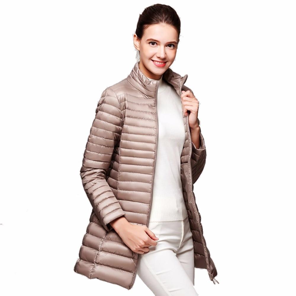 Winter Women 90% White Duck Down Coat Warm Long Jacket Fall Female UltraLight Down Jackets Slim Solid Long Sleeve Parkas 3XL 4XL