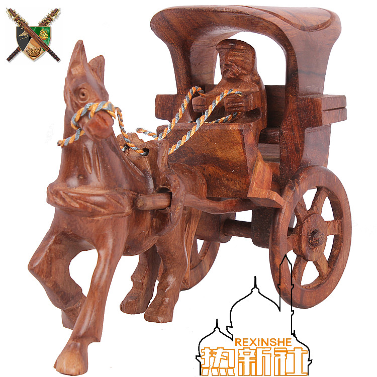 Pakistan handmade wood carving art ornament antique ornaments ancient crafts furnishings Home Furnishing carriage