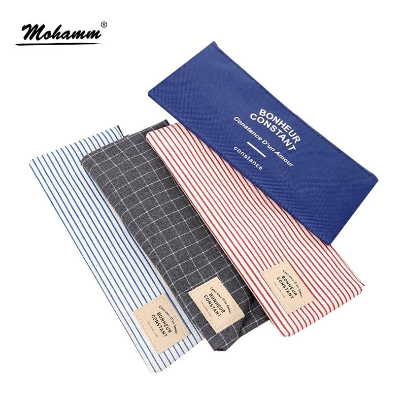Korean Cute Girls Grid Stripes Canvas Pencil Bag Storage Organizer Case Office School Supply Promotional Gift Stationery