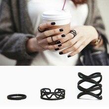 3 шт. женские панк черные простые выше костяшки кольцо миди наконечник кольца набор девушка мода женщины
