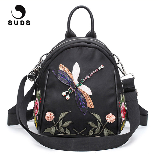 SUDS Brand Women Vintage Nylon Handmade Embroidery Backpack Female High  Quality Shoulder Bags Travel Backpacks For f0ca989fe542c