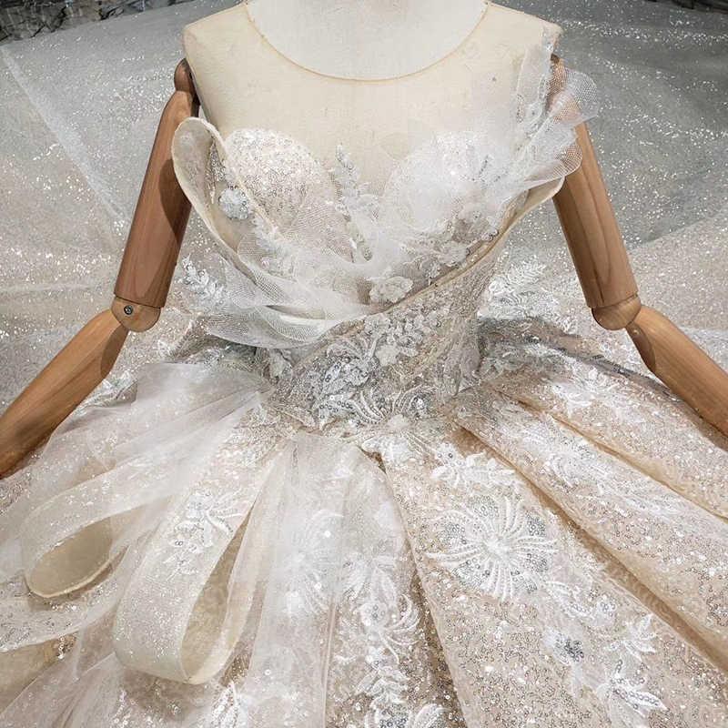 Boda Специальное свадебное платье 2019 o-образным вырезом без рукавов Замочная скважина сзади шарик ручной работы свадебное платье gownsgelinlik HTL304