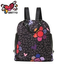 Free shipping 2016 Purchase BRITTO genuinu leather Cartoon Graffiti Backpack Leisure Laptop School Bags Travel Shoulder