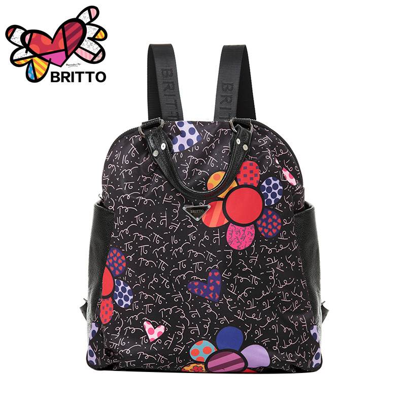 Free shipping 2016 Purchase BRITTO genuinu leather Cartoon Graffiti Backpack Leisure Laptop School Bags Travel Shoulder Bag