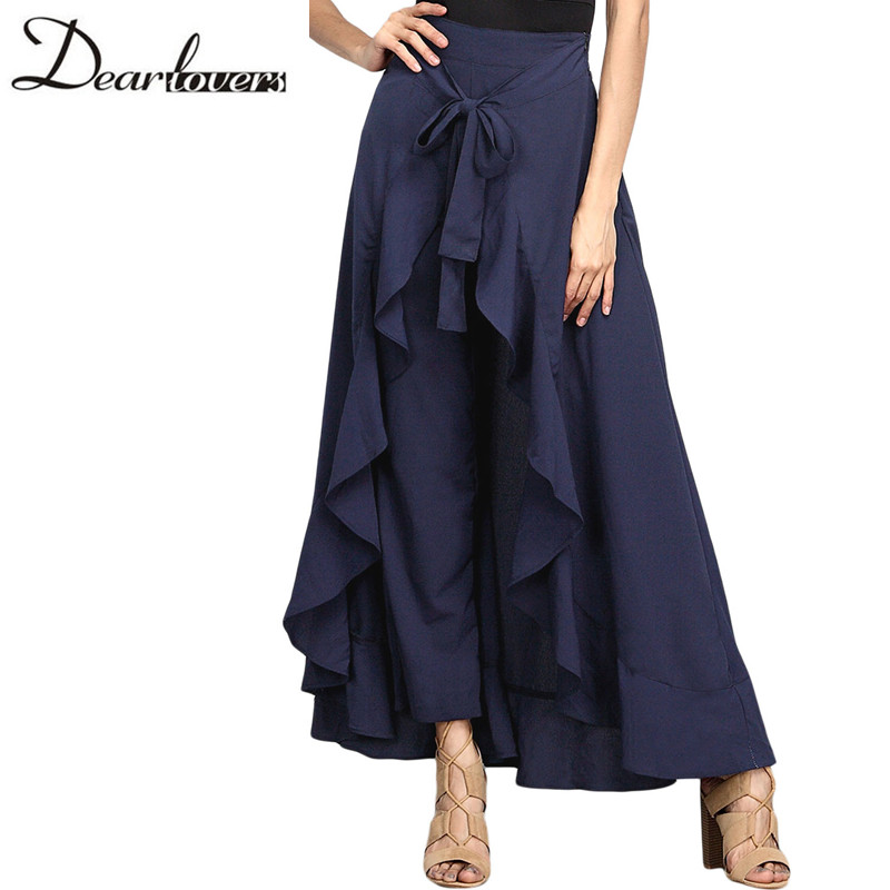 New Casual Fashion Navy Chiffon Tie-Waist Ruffle Wide Leg Loose Pants LC77034 Black Grey