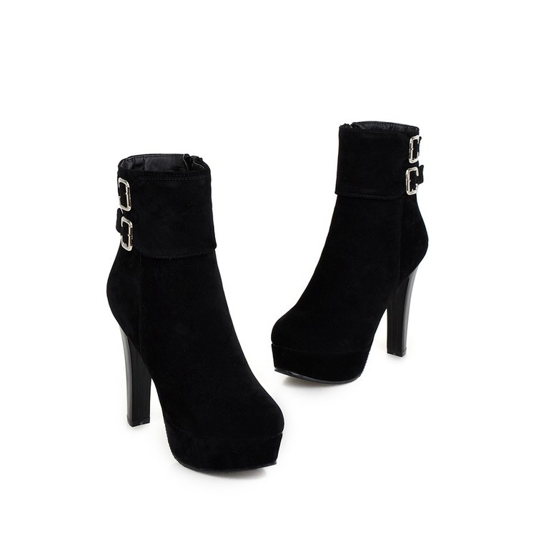 Image 5 - 2017 Winter Boots Plus Big Size New Round Toe Buckle Boots For Women Sexy Ankle Heels Fashion Winter Shoes Casual Zip Snow 2150fashion winter bootswinter bootsboots fashion -