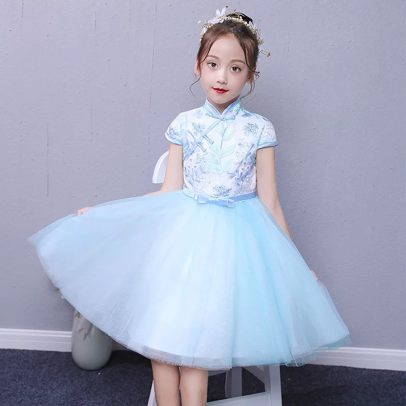 2018 Summer New Chinese Traditional Qipao Embroidery Flowers Birthday Wedding Party Dress Baby Kids Host Piano Pageant Dress2018 Summer New Chinese Traditional Qipao Embroidery Flowers Birthday Wedding Party Dress Baby Kids Host Piano Pageant Dress