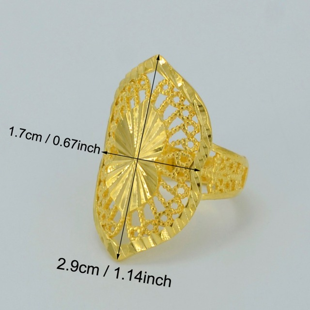 Dubai Gold Ring for Women's, Real Gold Plated & Copper Africa Ring Ethiopian Jewelry/Arab/India/Nigeria/Middle East #034506