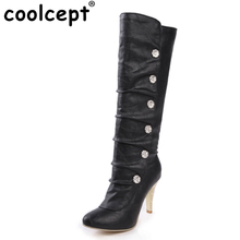 Women High Heel Over Knee Boots Vintage Long Snow Boot Warm Winter Botines Mujer Heels Footwear Shoes P6646 EUR Size 34-39
