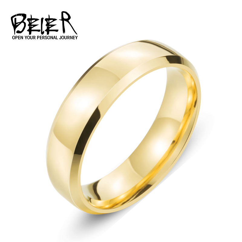 Top Quality 2016 Men's New Brand Unique Stainless Steel white/gold/black colour Simple Ring Shine Wedding Jewelry  BR-R073