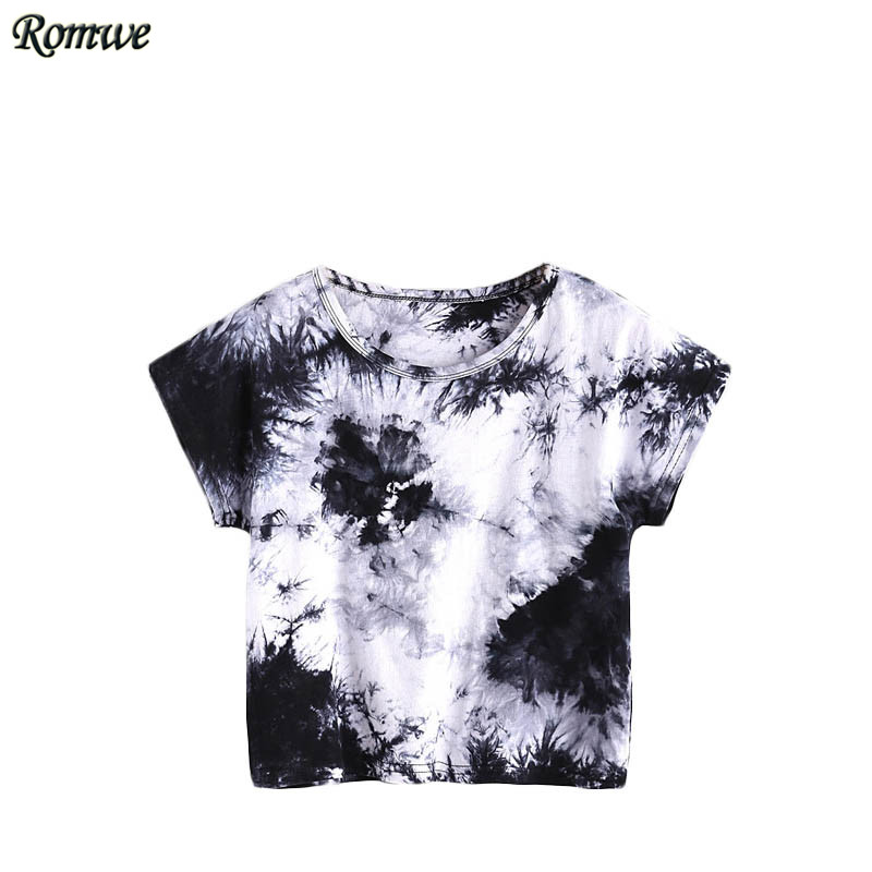 ROMWE Summer Womens Tee <font><b>Shirts</b></font> Women Tops Summer 2017 Black and White <font><b>Water</b></font> <font><b>Color</b></font> Tee Short Sleeve Tie Dye Casual T-<font><b>shirt</b></font>