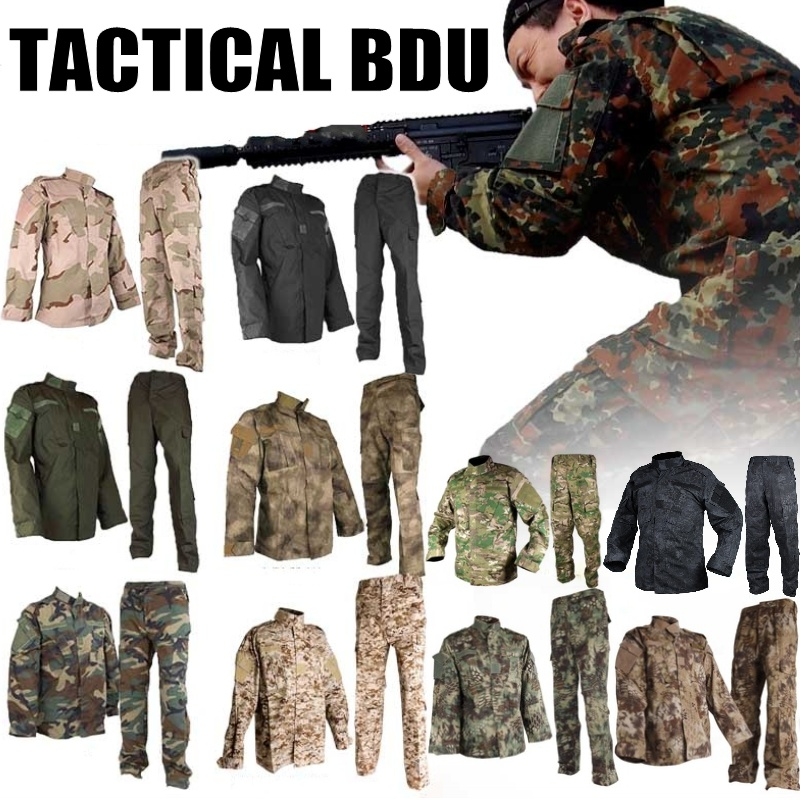 Camouflage Army Uniform Military Tactical BDU Uniforms Combat Shirt Pants Swat Airsoft Paintball Hunting Clothes