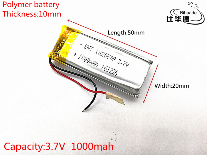 Free shipping 1pcs/lot 1000 mah lithium-ion polymer battery 3.7 V 102050 KTV household wired amplifier audio